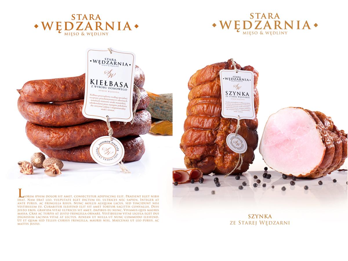 Zdjęcia żywności wędlin  parówek projekt etykiet